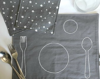 Montessori Placemat for Kids, Montessori Baby Cotton Placemats, Kids Fabric Placemats, Montessori Practical Life Place Setting,