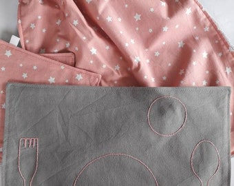 Hand Embroidered Pink Baby Bib Set, Educational Placemat and Napkin Set, Montessori Placemats Kids, Toddler Gift,