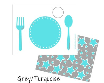Turquoise Printable Placemat for Kids, Practical Life Preschool Place Setting Kids Educational Placemat, DIGITAL DOWNLOAD