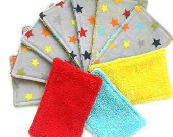 10 Washable Wipes Zero Waste, Cloth Wipes for a Reusable Ecological Present or Neutral Gender New Baby Gift, New Parent Present, Baby Shower