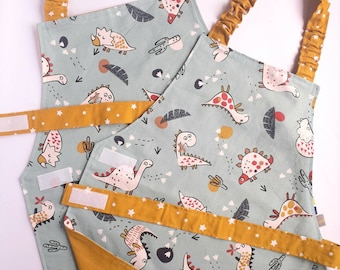 Montessori Toddler Apron for Kids, Dinosaur Apron, 2-7 years Old, Preschool Child Apron for Cooking, Chef Toddler Gift,
