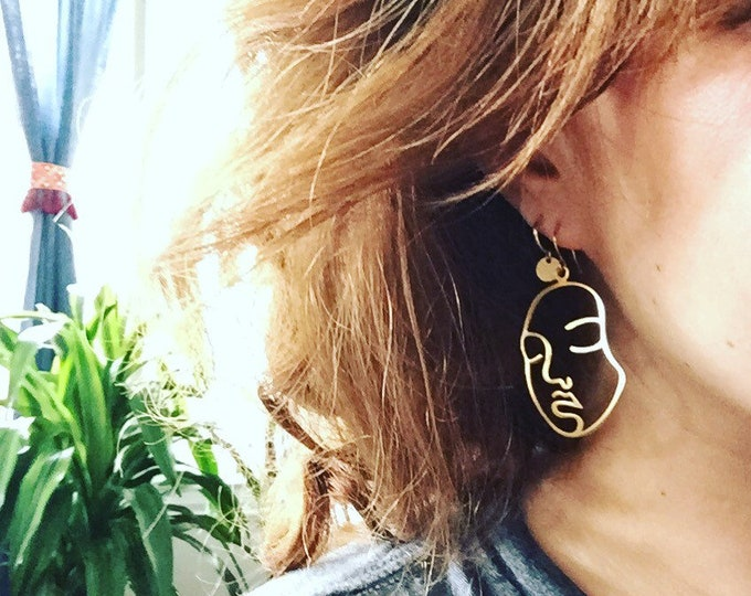Featured listing image: Two Faced Brass Earrings // Line Drawing Earrings