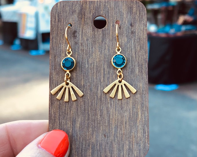 Featured listing image: Glass + Brass Starburst Earrings