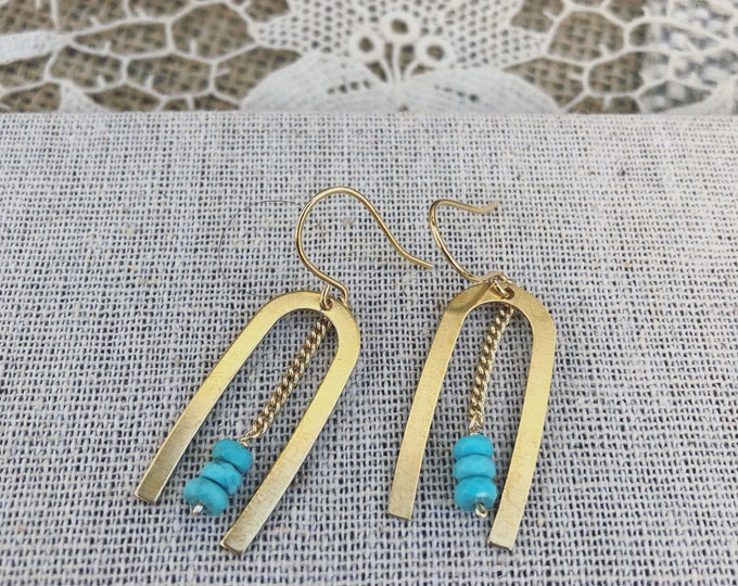 Featured listing image: Blue Turquoise Brass U Earrings