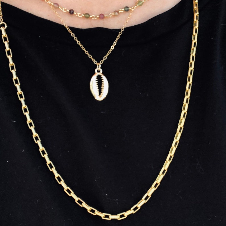 Sarah/'s Seashell Necklace  Cowrie Shell Necklace  Gold Shell Necklace