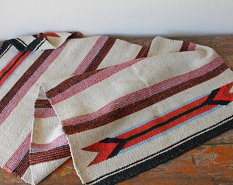 Vintage Navajo Rug, Double Saddle Blanket, Southwestern Decor