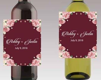 Boho Floral Wedding Beer or Wine Bottle Labels Great for Engagement Bridal Shower Party self stick easy to use labels
