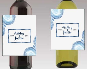 Square frame water colors Wedding Beer or Wine Bottle Labels Great for Engagement Bridal Shower Party self stick easy to use labels