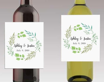 Summer Leaves on wreath Wedding Beer or Wine Bottle Labels Great for Engagement Bridal Shower Party self stick easy to use labels