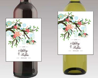 Flower Trees and Mason Jars Wine / Beer Bottle Labels Great for Engagement Bridal Shower Party self stick easy to use labels