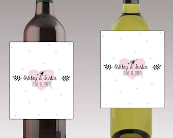 Pink Heart Wedding Beer or Wine Bottle Labels Great for Engagement Bridal Shower Party self stick easy to use labels