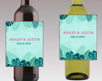 Tropical Theme Wedding Beer or Wine Bottle Labels Great for Engagement Bridal Shower Party self stick easy to use labels