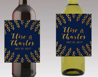 Navy & Gold Wedding Beer or Wine Bottle Labels Great for Engagement Bridal Shower Party self stick easy to use labels