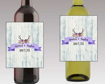 Rustic wood label with antlers Wedding Beer or Wine Bottle Labels Great for Engagement Bridal Shower Party self stick easy to use labels