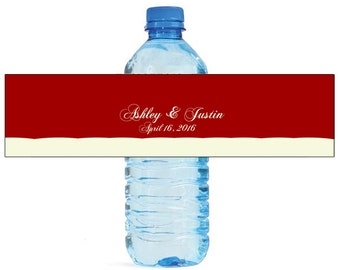 Cherries Jubilee red Wedding Anniversary Sweet 16 Water Bottle Labels Great for Engagement Bridal Shower Party