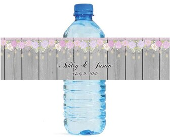 Rustic Wood Flowers & Hanging Mason Jars Wedding Anniversary Water Bottle Labels Customizeable Self Stick labels