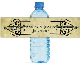 Vintage Designs Wedding Water Bottle Labels Great for Engagement Bridal Shower Wedding Party easy to apply and use