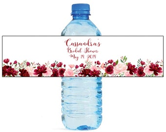 Blush & Burgandy White Background Wedding Water Bottle Labels Great for Engagement Bridal Shower Party