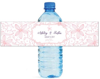 Whimsical Floral Outline Wedding Water Bottle Labels Great for Engagement Bridal Shower Birthday Party Sweet 16 Spring Party