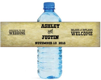 Country Inlaws & Outlaws Wedding Anniversary Water Bottle Labels Customizable labels Cowboy Western