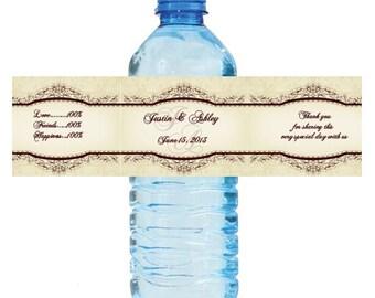Elegant Vintage Wedding Water Bottle Labels Great for Engagement Bridal Shower Party