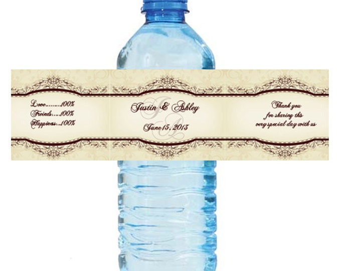 Featured listing image: Elegant Vintage Wedding Water Bottle Labels Great for Engagement Bridal Shower Party