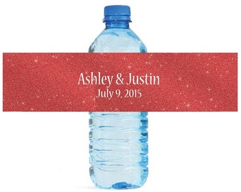 Modern Red Glitter Wedding Water Bottle Labels Great for Engagement Bridal Shower Party