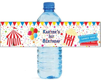 Circus Party Fun Birthday party Theme Water Bottle Labels Great for all types of Celebrations and parties