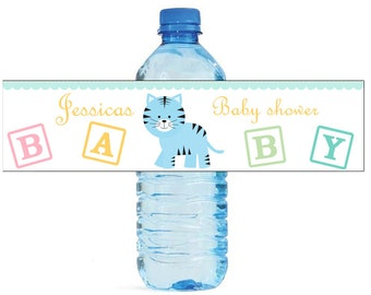 Baby Boy Tiger Baby Shower Theme Water Bottle Labels Perfect for your Celebration and events with an animal circus theme