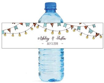 Hand Drawn Market Lights Wedding Water Bottle Labels Great for Engagement Bridal Shower Birthday Party Anniversary Self Stick Labels