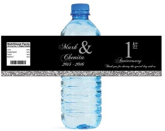 Black and Silver Glitter 1st Anniversary Water Bottle Labels Customizeable labels Self Stick, Easy to use