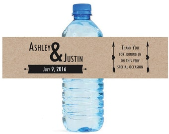 Kraft Modern Wedding background Water Bottle Labels Great for Engagement Bridal Shower Party