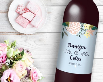 Spring Time Floral Wine / Beer Bottle Labels Great for Engagement Bridal Shower Party self stick easy to use labels