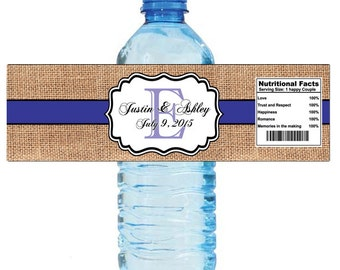 Burlap Purple Stripe Monogram Wedding Water Bottle Labels Great for Engagement Bridal Shower Anniversary Birthday Party 2 sizes available
