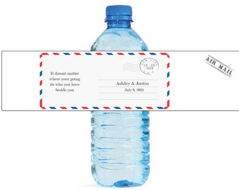 Air mail letter travel theme Wedding Water Bottle Labels Great for Engagement Bridal Shower Party easy to apply and use