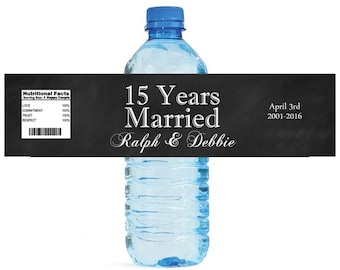 Black Chalkboard 15 years Married water Bottle Labels Customizeable labels milestone anniversary labels