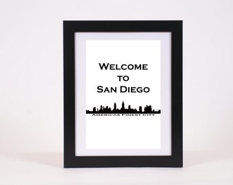Welcome To San Diego Skyline Poster Americas Finest City Print