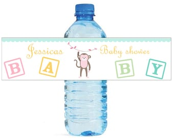 Baby Girl Monkey Baby Shower Theme Water Bottle Labels Perfect for your Celebration and events with an animal circus theme