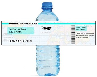Travel Ticket Travel Theme World Traveller Wedding Water Bottle Labels Great for Engagement Bridal Shower Party