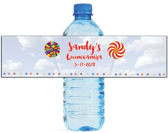 Lollipop in the sky Candy Theme Kids Birthday Water Bottle Labels Great for all sorts of parties and get togethers easy to use self stick