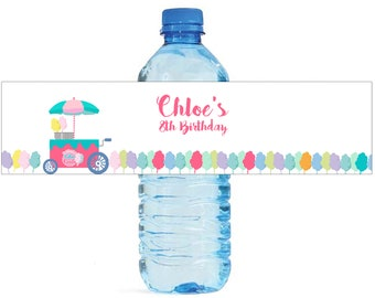 Cotton Candy Theme Water Bottle Labels Great for Birthday Celebrations Kids Party School party Carnival