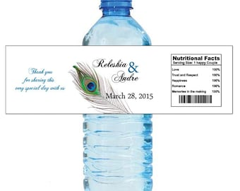 New Peacock Water Bottle Labels Great for Engagement Bridal Shower Wedding Party 2 sizes available