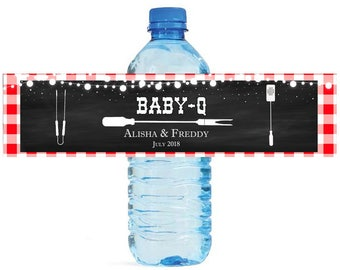 Baby Q Chalkboard & Gingham Baby Shower Reveal Party Water Bottle Labels Great for Your events Party easy to apply and use cookout BBQ