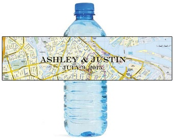 Street Map Travel Theme World Traveller Wedding Water Bottle Labels Great for Engagement Bridal Shower Party Available in 2 sizes