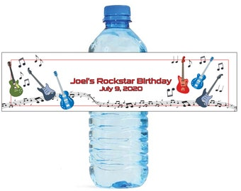 Guitar Music theme Birthday Wedding Water Bottle Labels Great for Engagement Bridal Shower Party Rockstar party