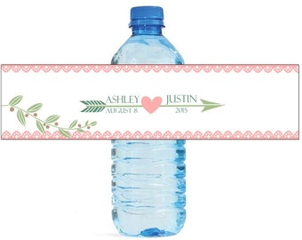 Arrow and Heart with White Background Wedding Water Bottle Labels Great for Engagement Bridal Shower Party 2 sizes available
