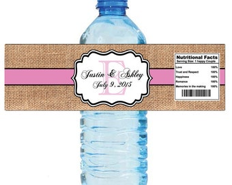 "Burlap Pink Stripe Monogram Wedding Water Bottle Labels Great for Engagement Bridal Shower Party 7""x2"" Hashtag"