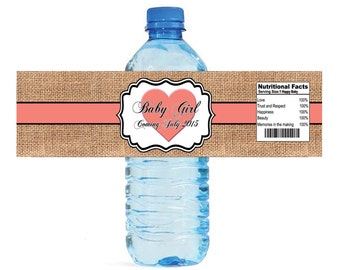 Burlap Coral Heart Baby Shower Water Bottle Labels with Cute Nutrition Facts Celebrations Baby