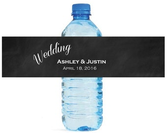 Chalkboard Wedding background Wedding Anniversary Water Bottle Labels Customizable labels Self stick, easy to use