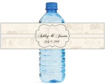 Parisian postcard with Monogram Wedding Water Bottle Labels Great for Engagement Bridal Shower Party